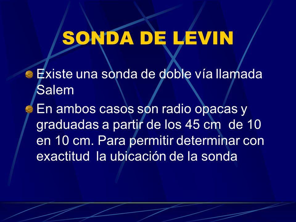 SONDA DE LEVIN Existe una sonda de doble vía llamada Salem