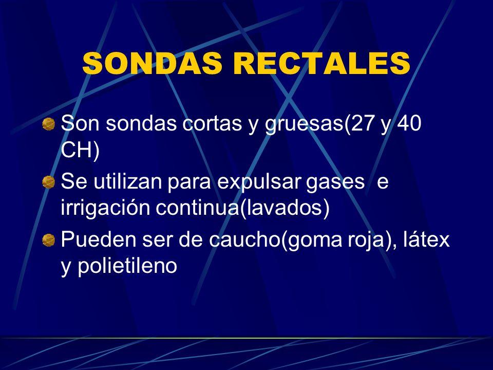SONDAS RECTALES Son sondas cortas y gruesas(27 y 40 CH)