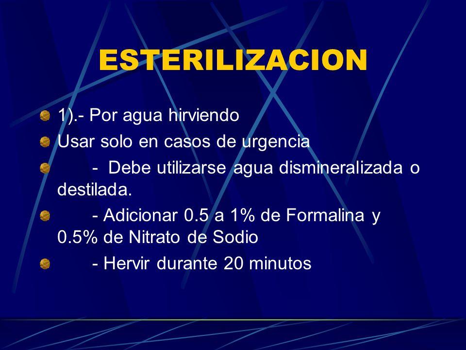 ESTERILIZACION 1).- Por agua hirviendo Usar solo en casos de urgencia