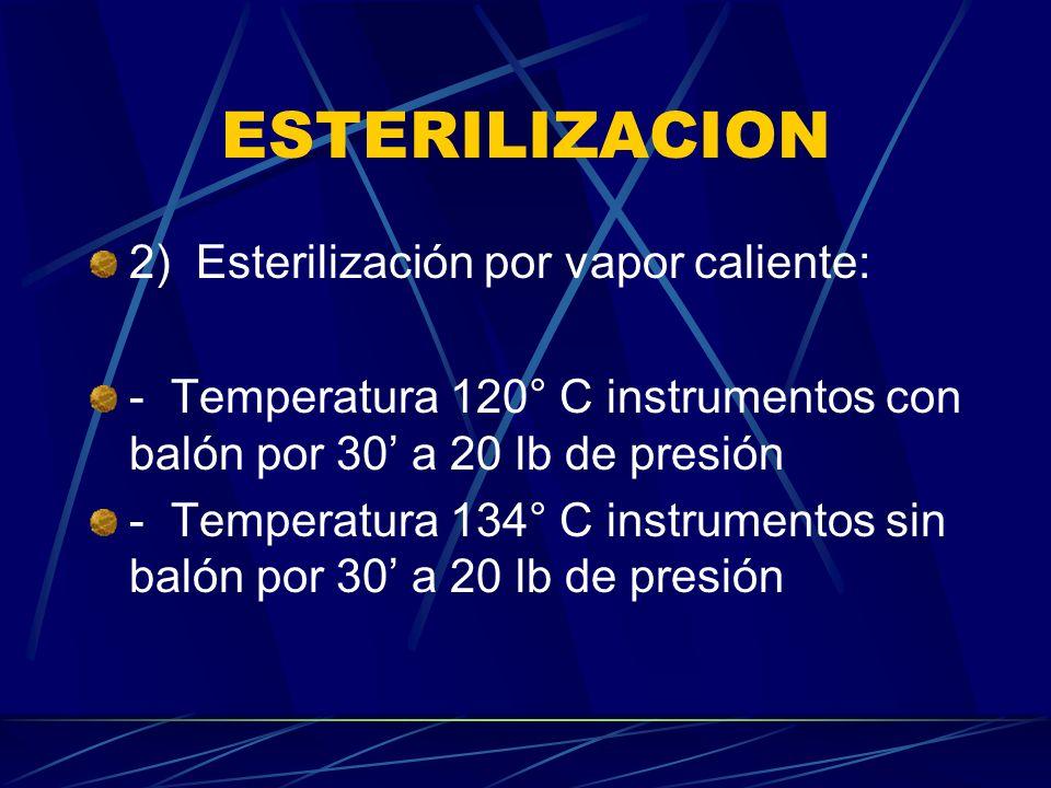 ESTERILIZACION 2) Esterilización por vapor caliente: