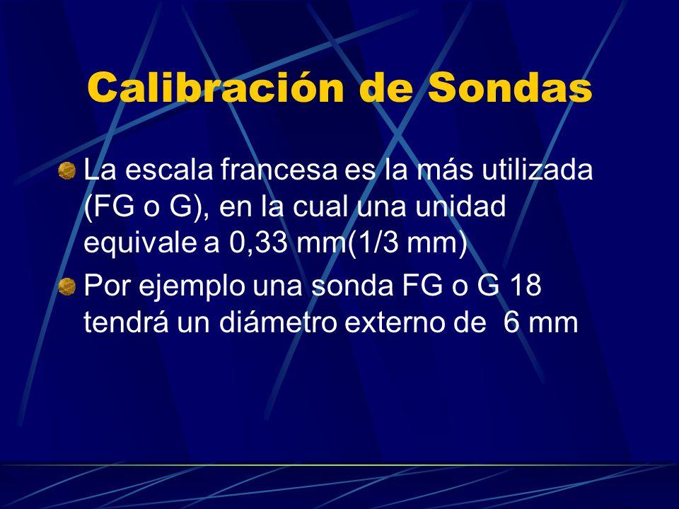Calibración de Sondas La escala francesa es la más utilizada (FG o G), en la cual una unidad equivale a 0,33 mm(1/3 mm)