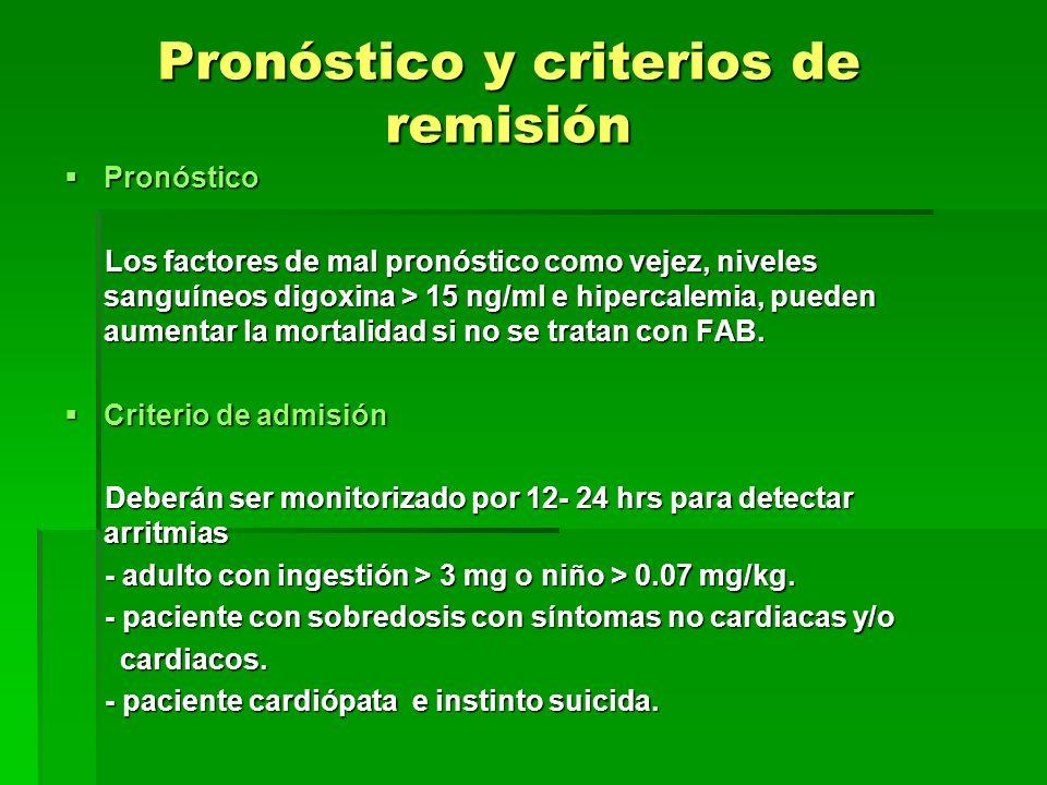 Pronóstico y criterios de remisión