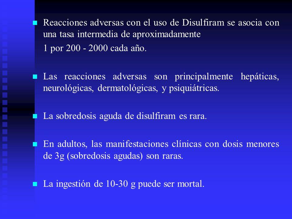 Reacciones adversas con el uso de Disulfiram se asocia con una tasa intermedia de aproximadamente