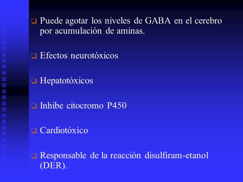 Puede agotar los niveles de GABA en el cerebro por acumulación de aminas.