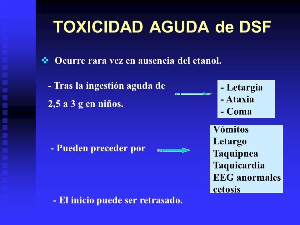 TOXICIDAD AGUDA de DSF Ocurre rara vez en ausencia del etanol.