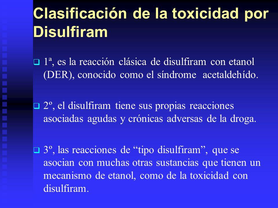 Clasificación de la toxicidad por Disulfiram