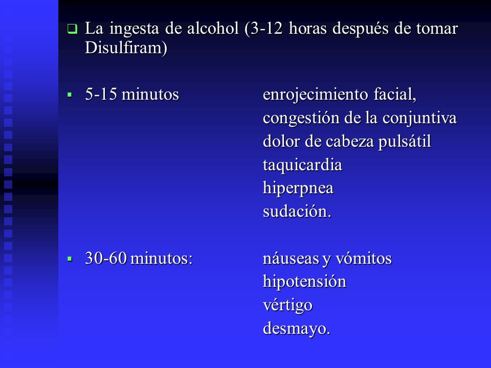 La ingesta de alcohol (3-12 horas después de tomar Disulfiram)