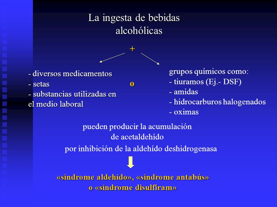 «síndrome aldehído», «síndrome antabús» o «síndrome disulfiram»