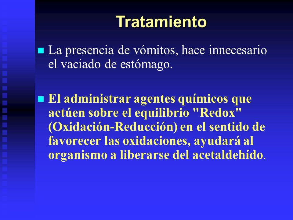 Tratamiento La presencia de vómitos, hace innecesario el vaciado de estómago.