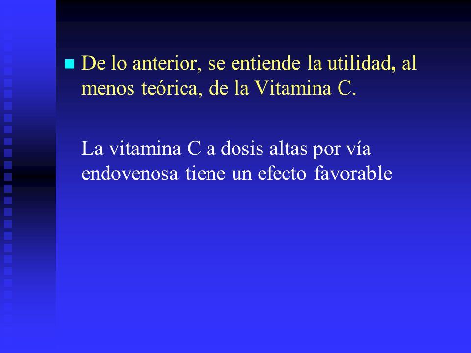 De lo anterior, se entiende la utilidad, al menos teórica, de la Vitamina C.