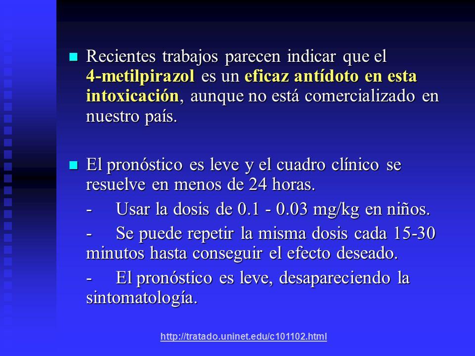 - Usar la dosis de 0.1 - 0.03 mg/kg en niños.