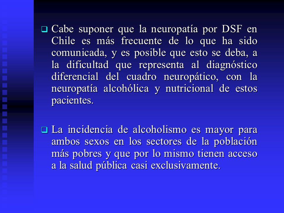 Cabe suponer que la neuropatía por DSF en Chile es más frecuente de lo que ha sido comunicada, y es posible que esto se deba, a la dificultad que representa al diagnóstico diferencial del cuadro neuropático, con la neuropatía alcohólica y nutricional de estos pacientes.