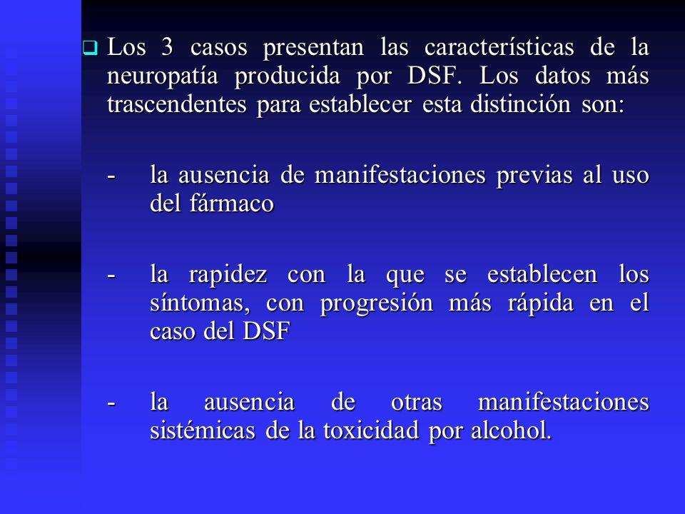Los 3 casos presentan las características de la neuropatía producida por DSF. Los datos más trascendentes para establecer esta distinción son: