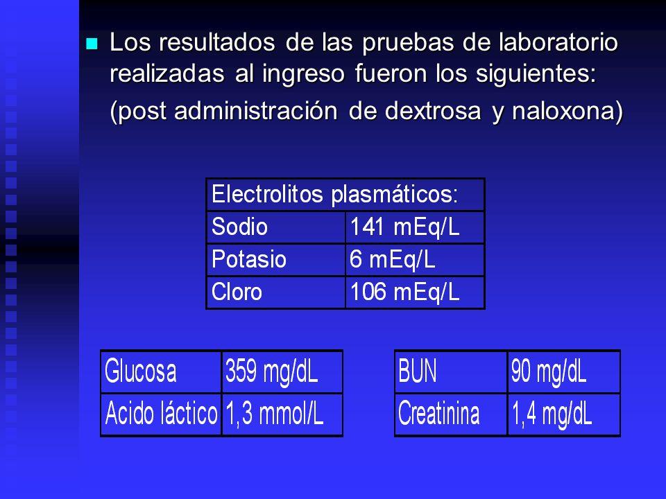 Los resultados de las pruebas de laboratorio realizadas al ingreso fueron los siguientes: