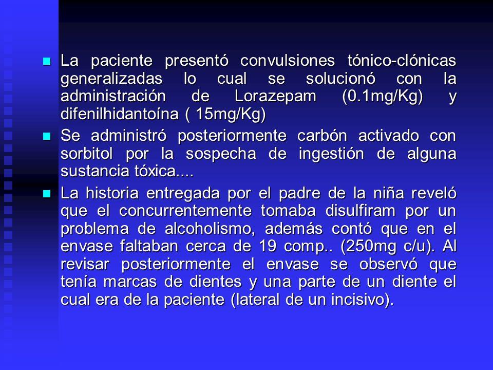 La paciente presentó convulsiones tónico-clónicas generalizadas lo cual se solucionó con la administración de Lorazepam (0.1mg/Kg) y difenilhidantoína ( 15mg/Kg)
