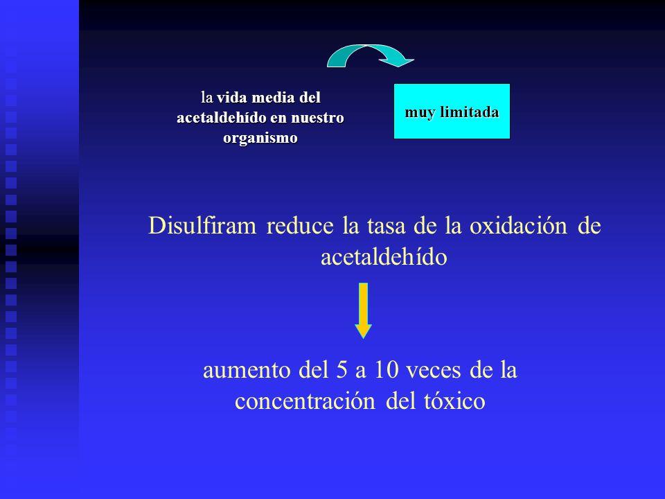 Disulfiram reduce la tasa de la oxidación de acetaldehído