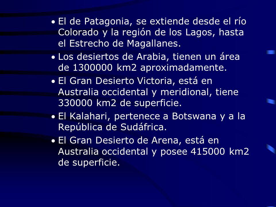 El de Patagonia, se extiende desde el río Colorado y la región de los Lagos, hasta el Estrecho de Magallanes.