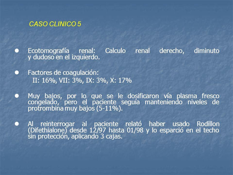 CASO CLINICO 5 Ecotomografía renal: Calculo renal derecho, diminuto y dudoso en el izquierdo.
