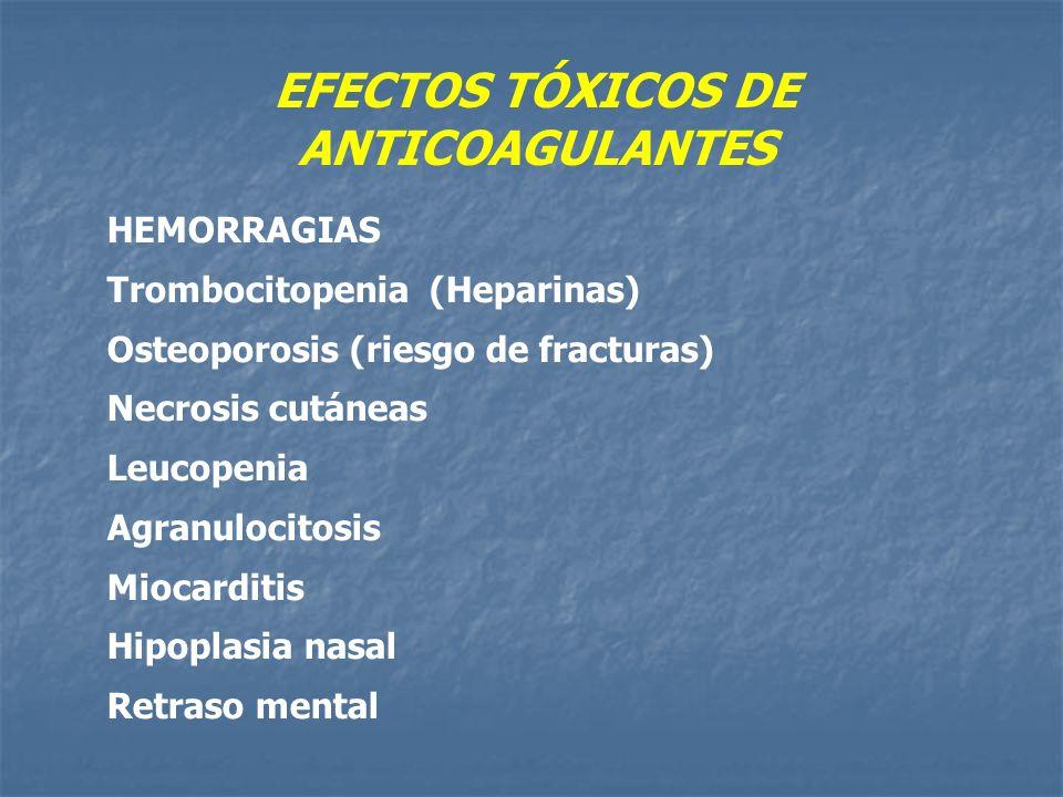 EFECTOS TÓXICOS DE ANTICOAGULANTES