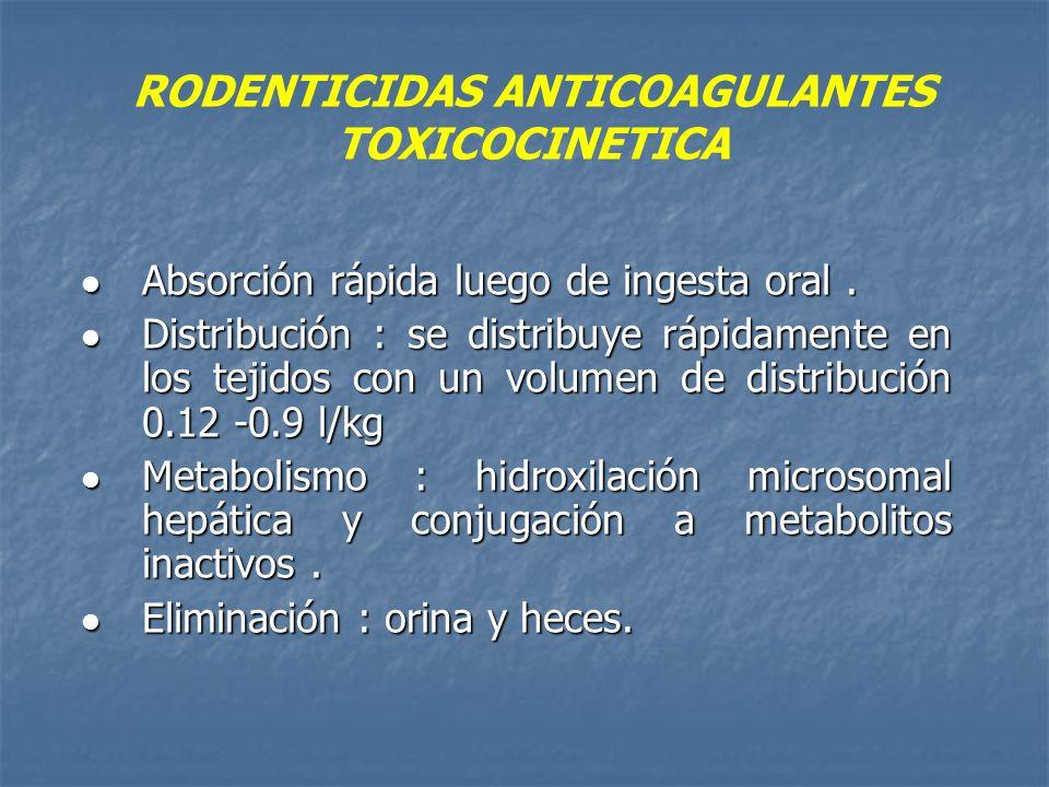 RODENTICIDAS ANTICOAGULANTES TOXICOCINETICA