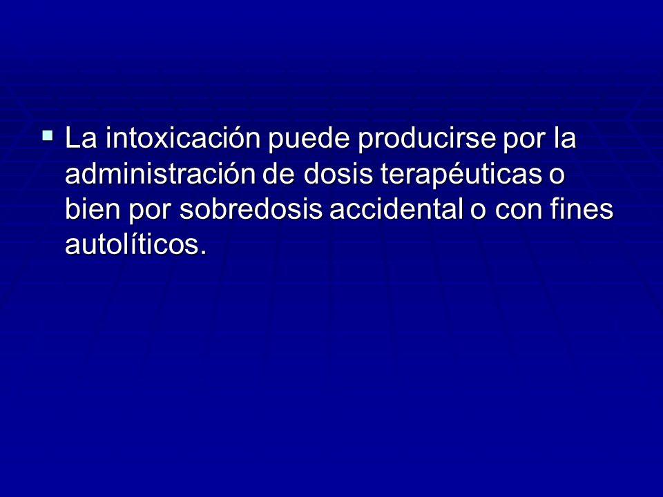 La intoxicación puede producirse por la administración de dosis terapéuticas o bien por sobredosis accidental o con fines autolíticos.
