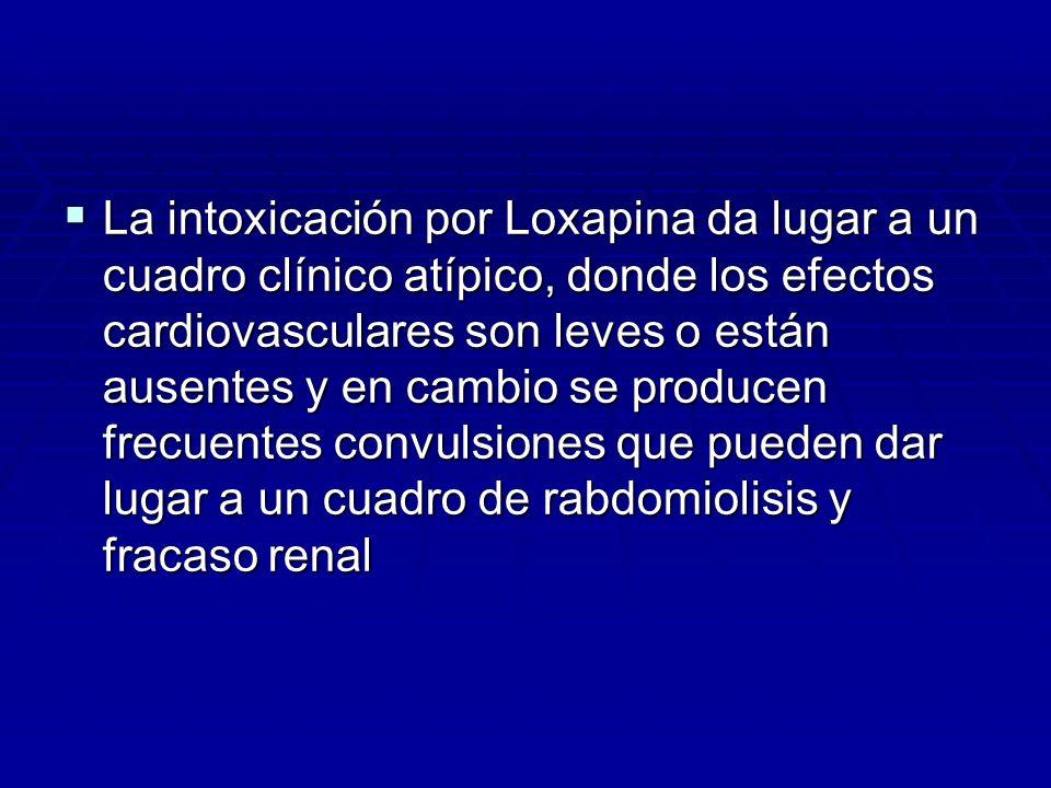 La intoxicación por Loxapina da lugar a un cuadro clínico atípico, donde los efectos cardiovasculares son leves o están ausentes y en cambio se producen frecuentes convulsiones que pueden dar lugar a un cuadro de rabdomiolisis y fracaso renal