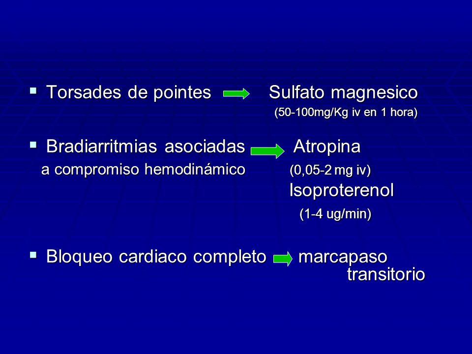 Torsades de pointes Sulfato magnesico (50-100mg/Kg iv en 1 hora)