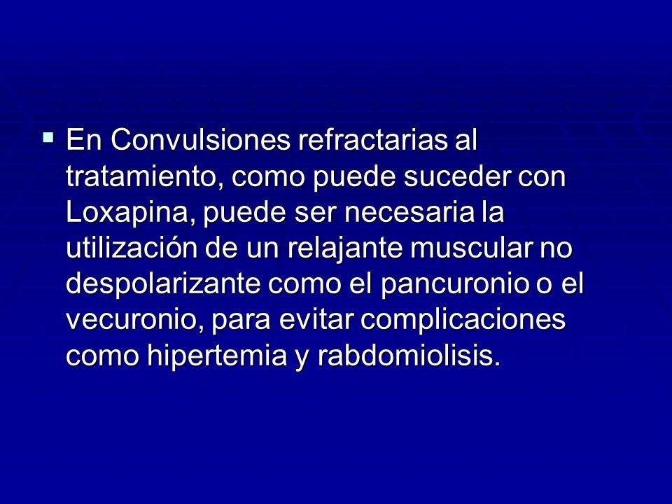 En Convulsiones refractarias al tratamiento, como puede suceder con Loxapina, puede ser necesaria la utilización de un relajante muscular no despolarizante como el pancuronio o el vecuronio, para evitar complicaciones como hipertemia y rabdomiolisis.