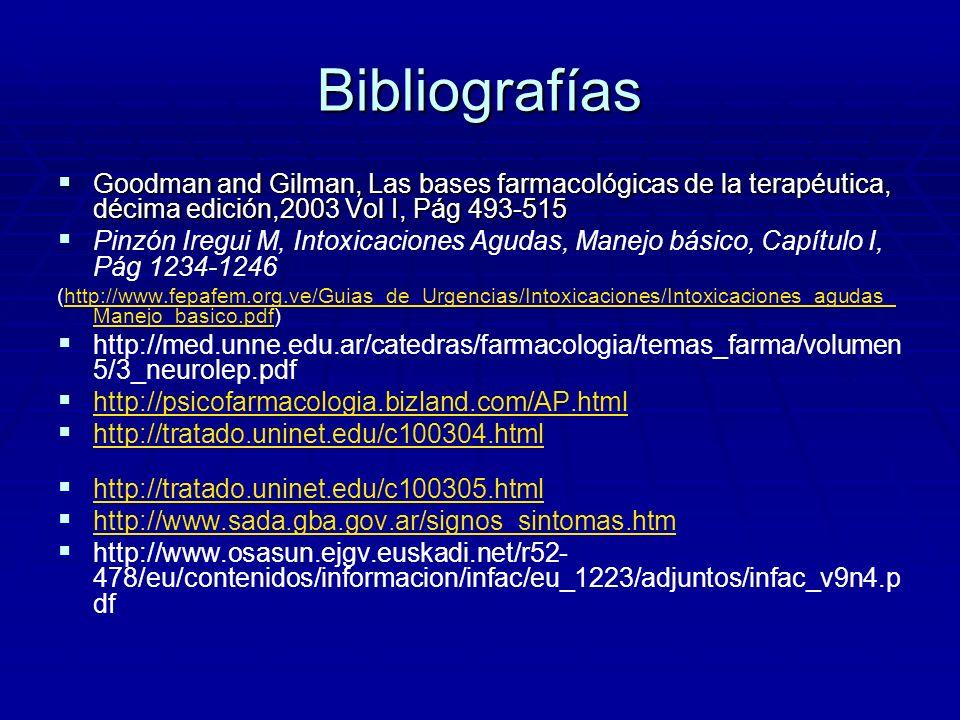 BibliografíasGoodman and Gilman, Las bases farmacológicas de la terapéutica, décima edición,2003 Vol I, Pág 493-515.