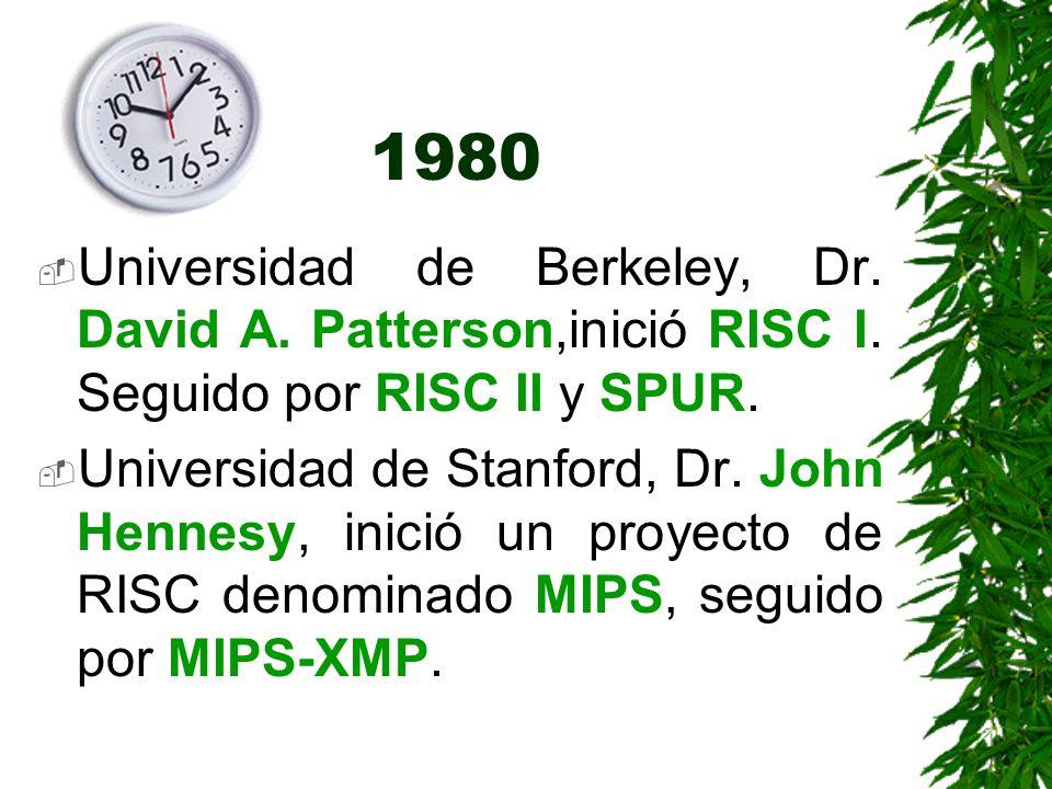1980 Universidad de Berkeley, Dr. David A. Patterson,inició RISC I. Seguido por RISC II y SPUR.