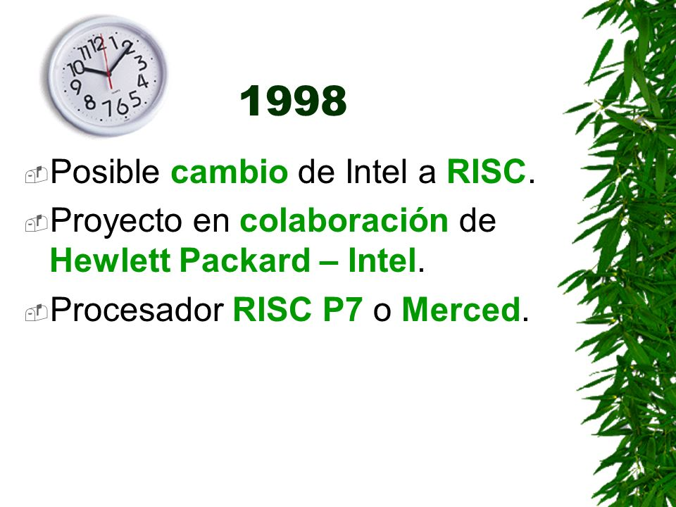 1998 Posible cambio de Intel a RISC.