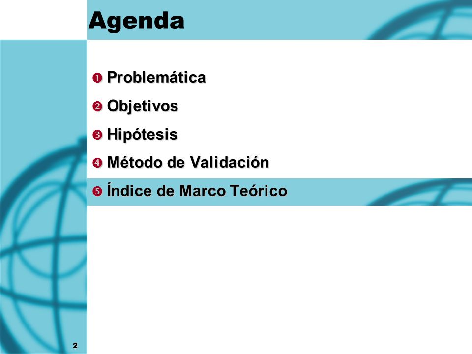 Agenda Problemática Objetivos Hipótesis Método de Validación