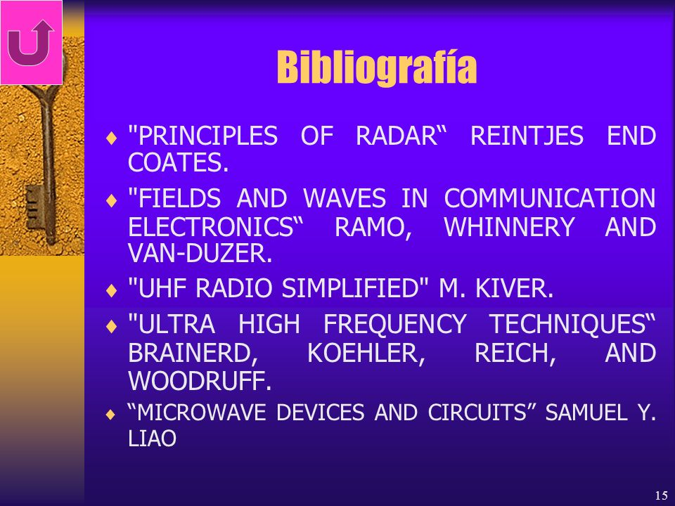 Bibliografía PRINCIPLES OF RADAR REINTJES END COATES.