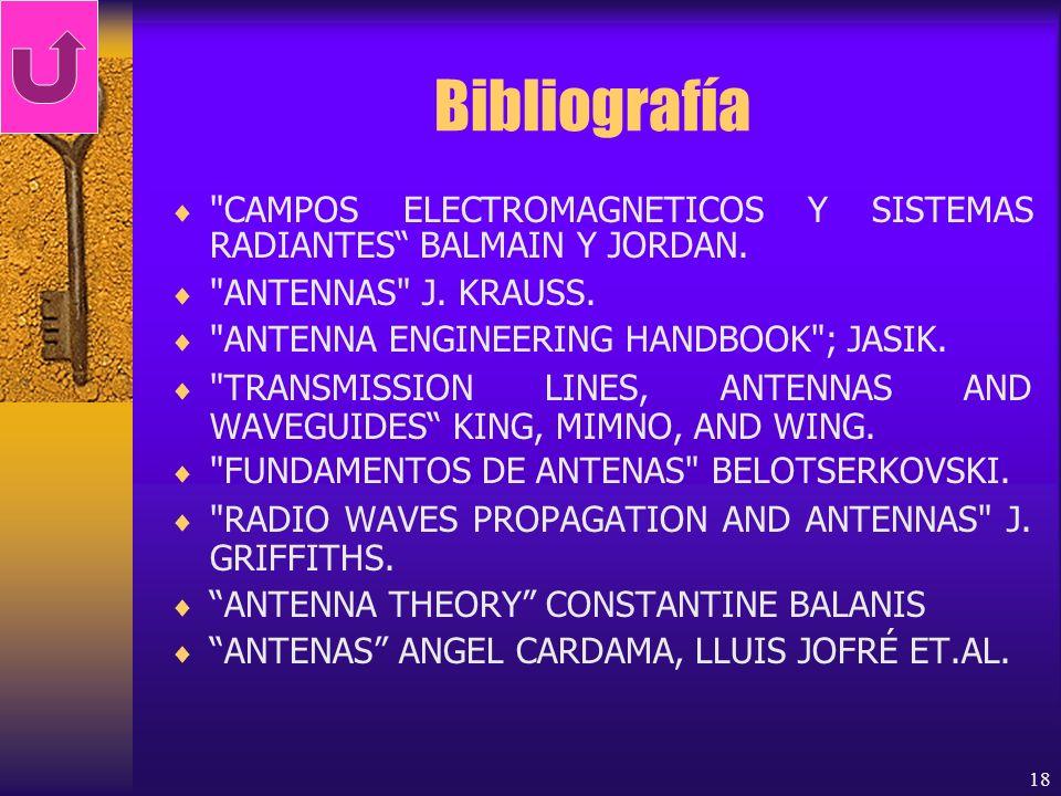 Bibliografía CAMPOS ELECTROMAGNETICOS Y SISTEMAS RADIANTES BALMAIN Y JORDAN. ANTENNAS J. KRAUSS.