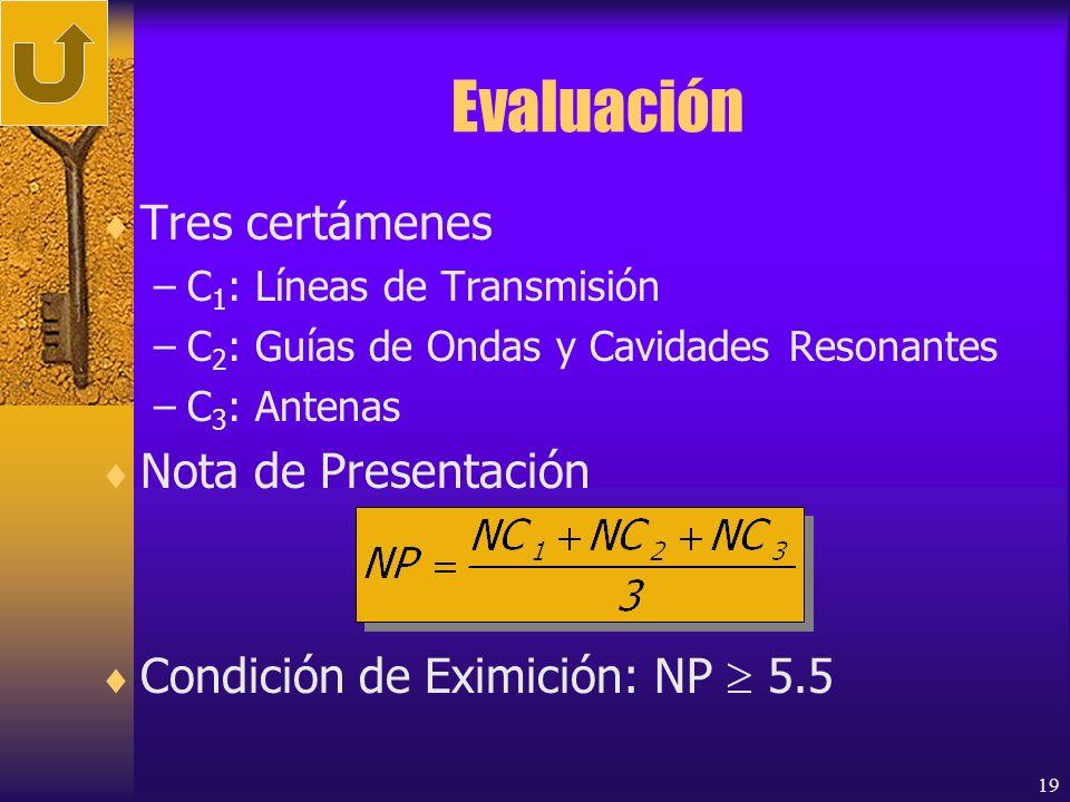 Evaluación Tres certámenes Nota de Presentación