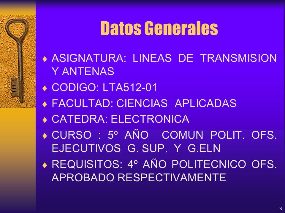 Datos Generales ASIGNATURA: LINEAS DE TRANSMISION Y ANTENAS