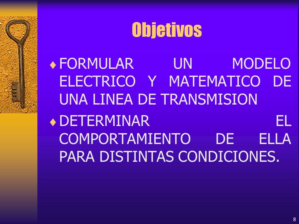 Objetivos FORMULAR UN MODELO ELECTRICO Y MATEMATICO DE UNA LINEA DE TRANSMISION.