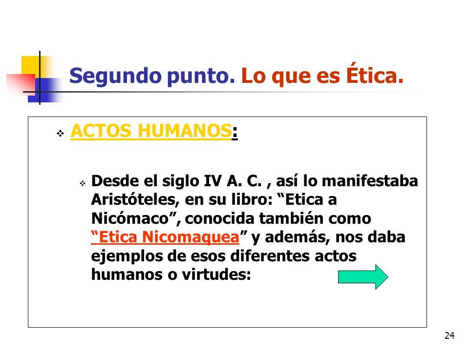 Segundo punto. Lo que es Ética.