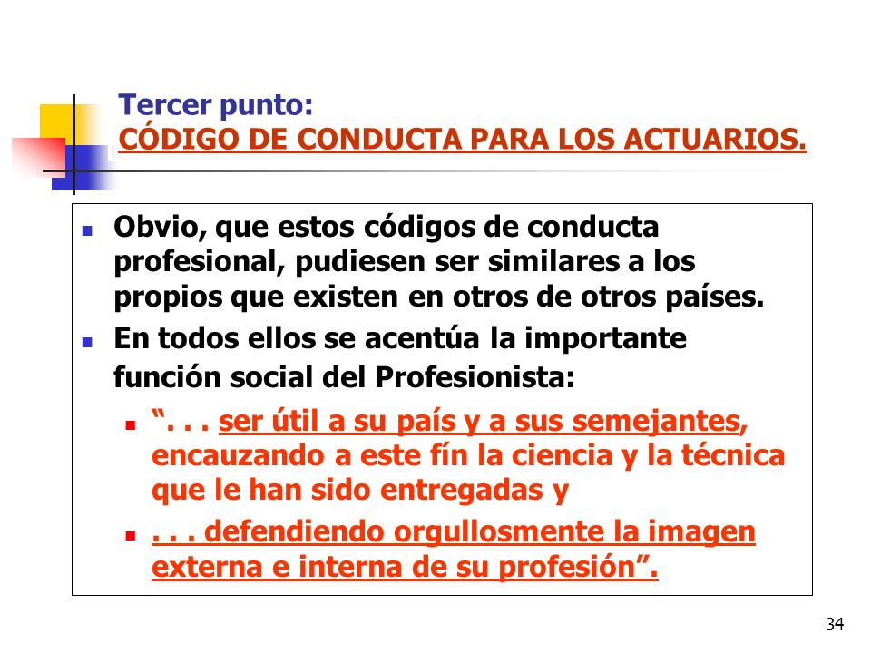 Tercer punto: CÓDIGO DE CONDUCTA PARA LOS ACTUARIOS.