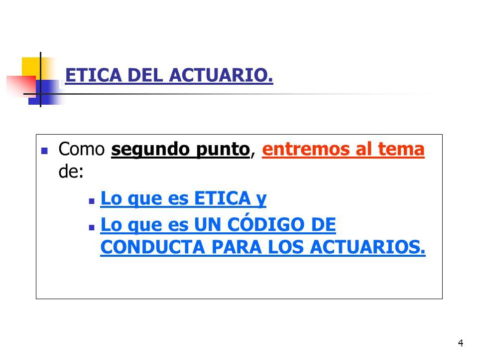 ETICA DEL ACTUARIO.Como segundo punto, entremos al tema de: Lo que es ETICA y.