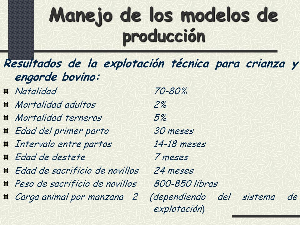 Manejo de los modelos de producción