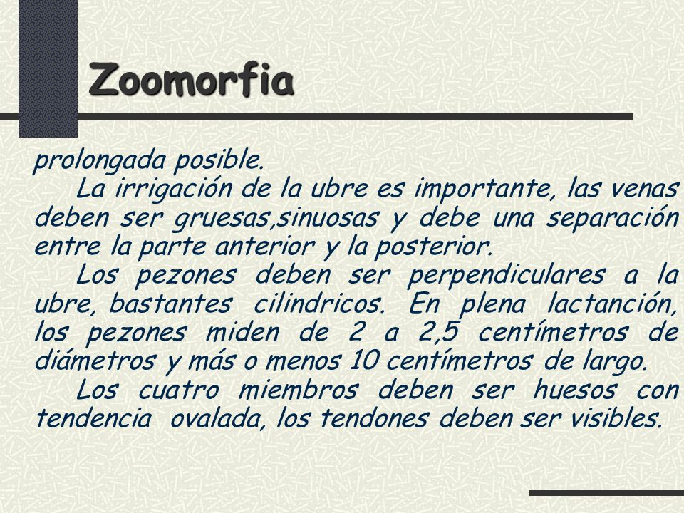 Zoomorfia prolongada posible.