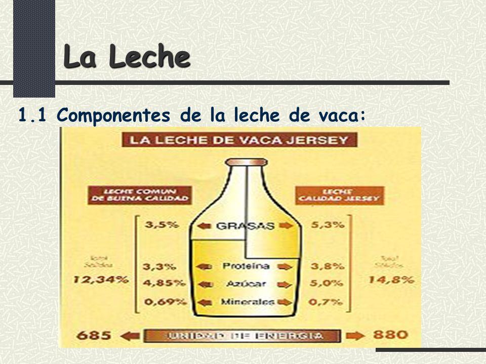 La Leche 1.1 Componentes de la leche de vaca: