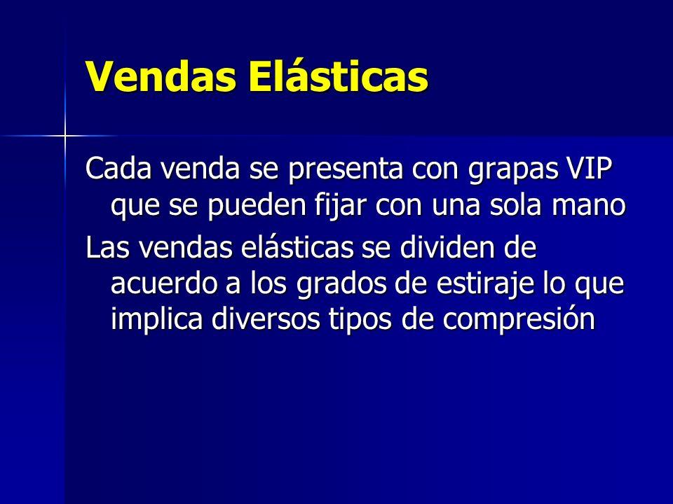 Vendas ElásticasCada venda se presenta con grapas VIP que se pueden fijar con una sola mano.