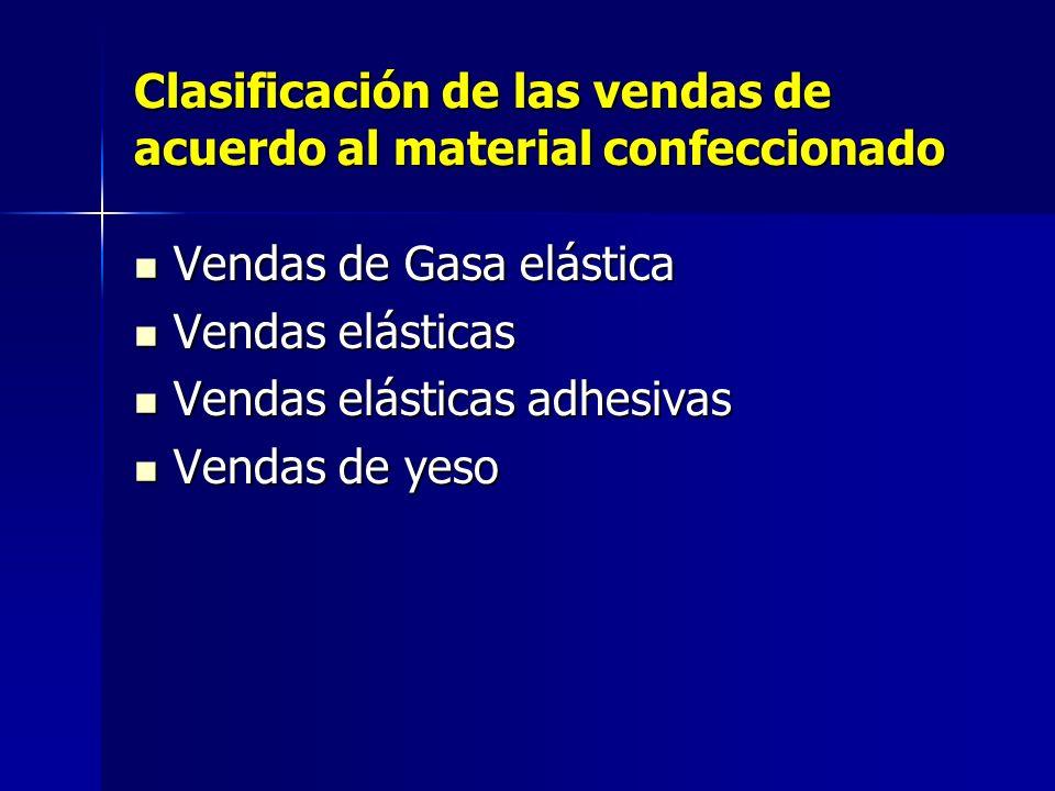 Clasificación de las vendas de acuerdo al material confeccionado