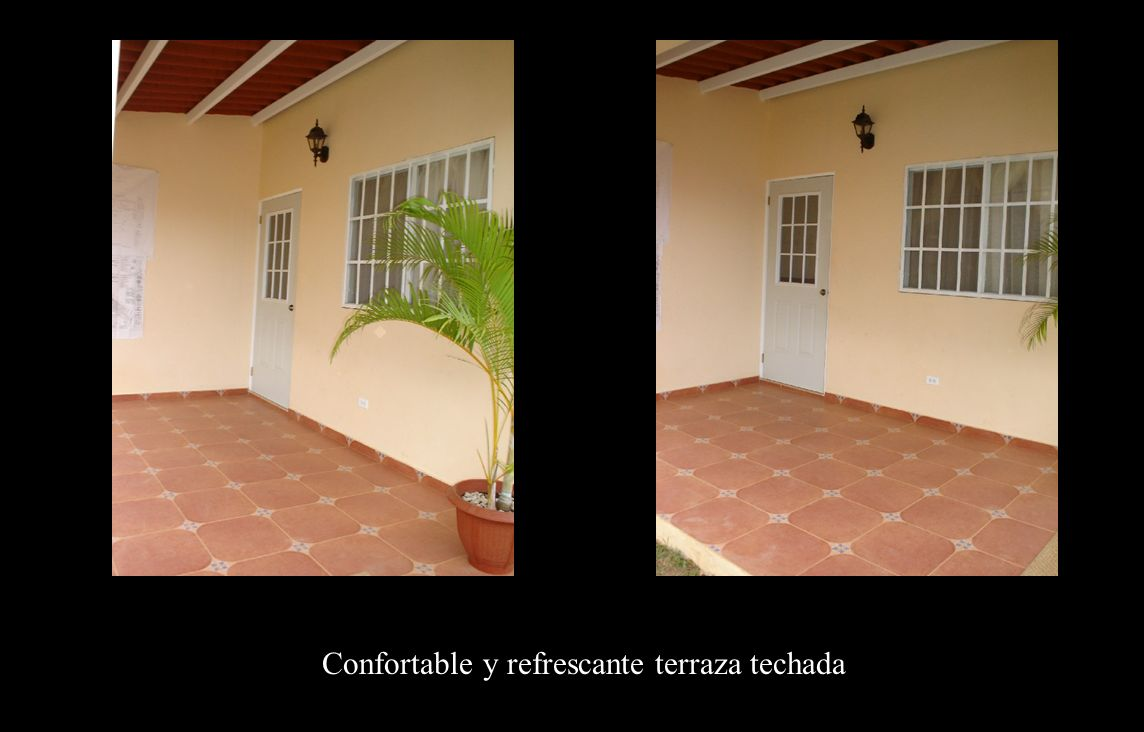 Confortable y refrescante terraza techada