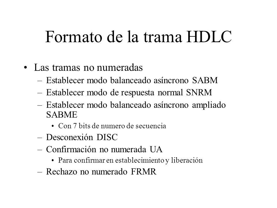 Formato de la trama HDLC