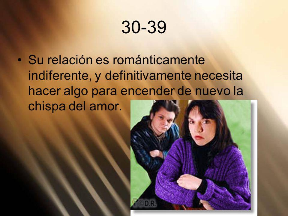 30-39Su relación es románticamente indiferente, y definitivamente necesita hacer algo para encender de nuevo la chispa del amor.