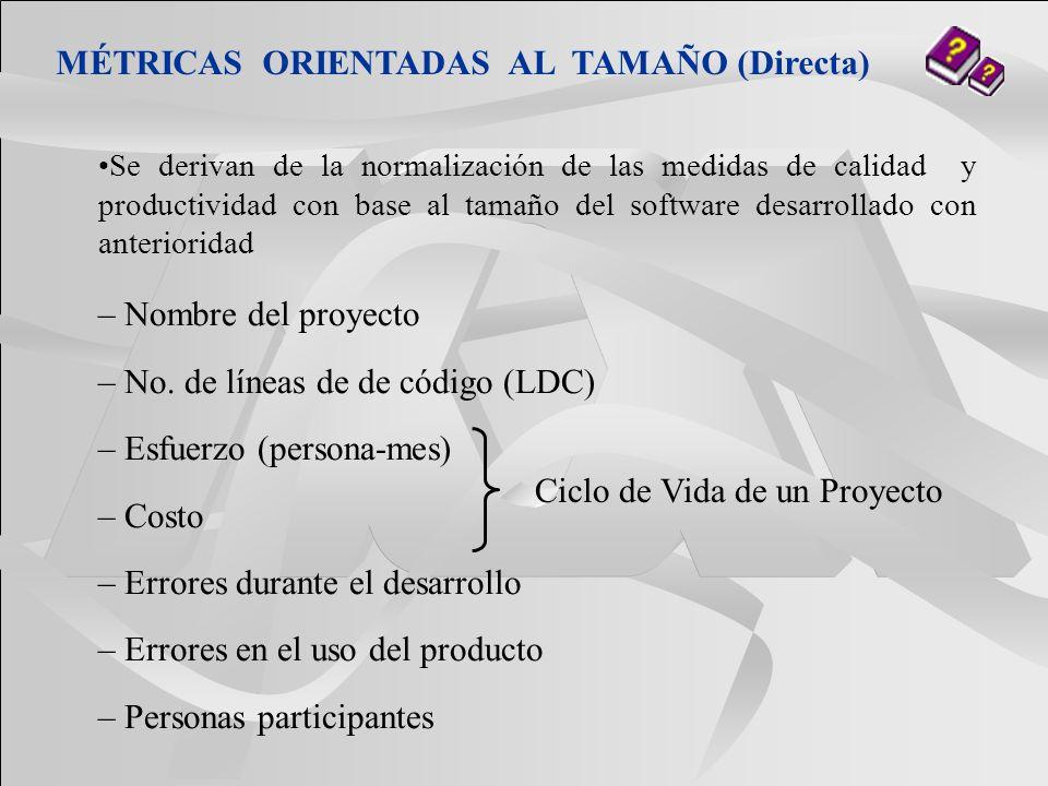 MÉTRICAS ORIENTADAS AL TAMAÑO (Directa)