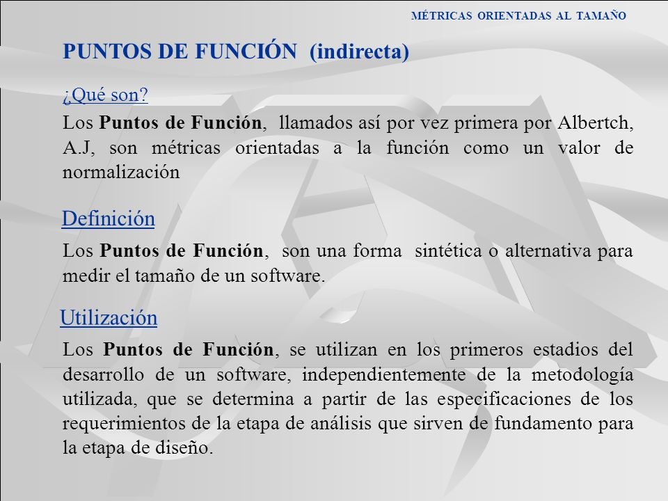 PUNTOS DE FUNCIÓN (indirecta)